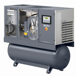 GA 15 FF Oil injected screw air compressor with integrated refrigerant dryer.